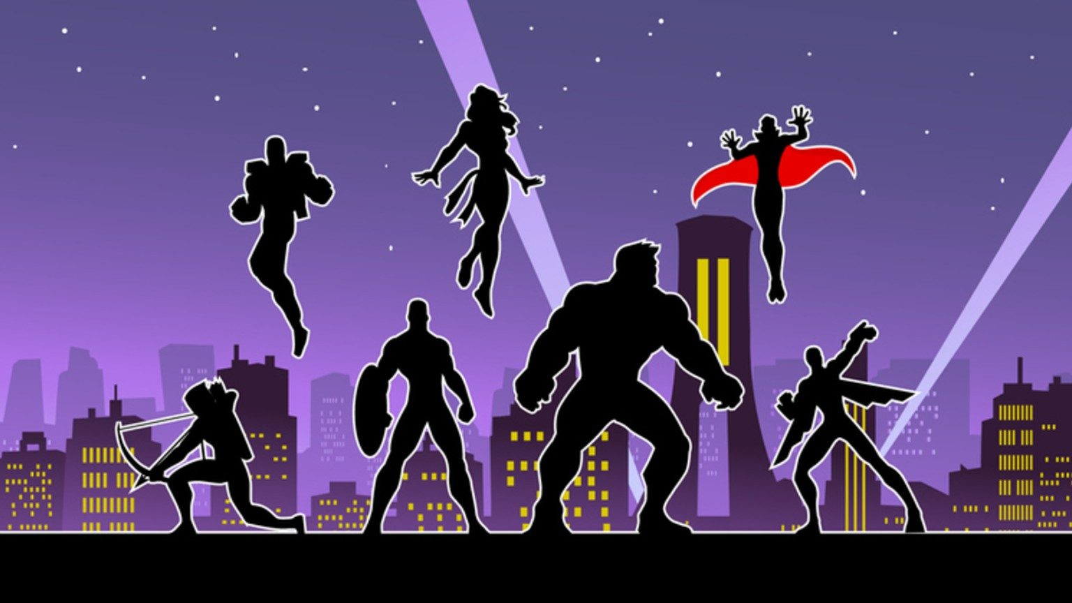 Superheroes Team Silhouette in the City at Night