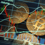 Cryptocurrency coins faded in a market trading background