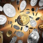 Silver and gold cryptocurrency coins