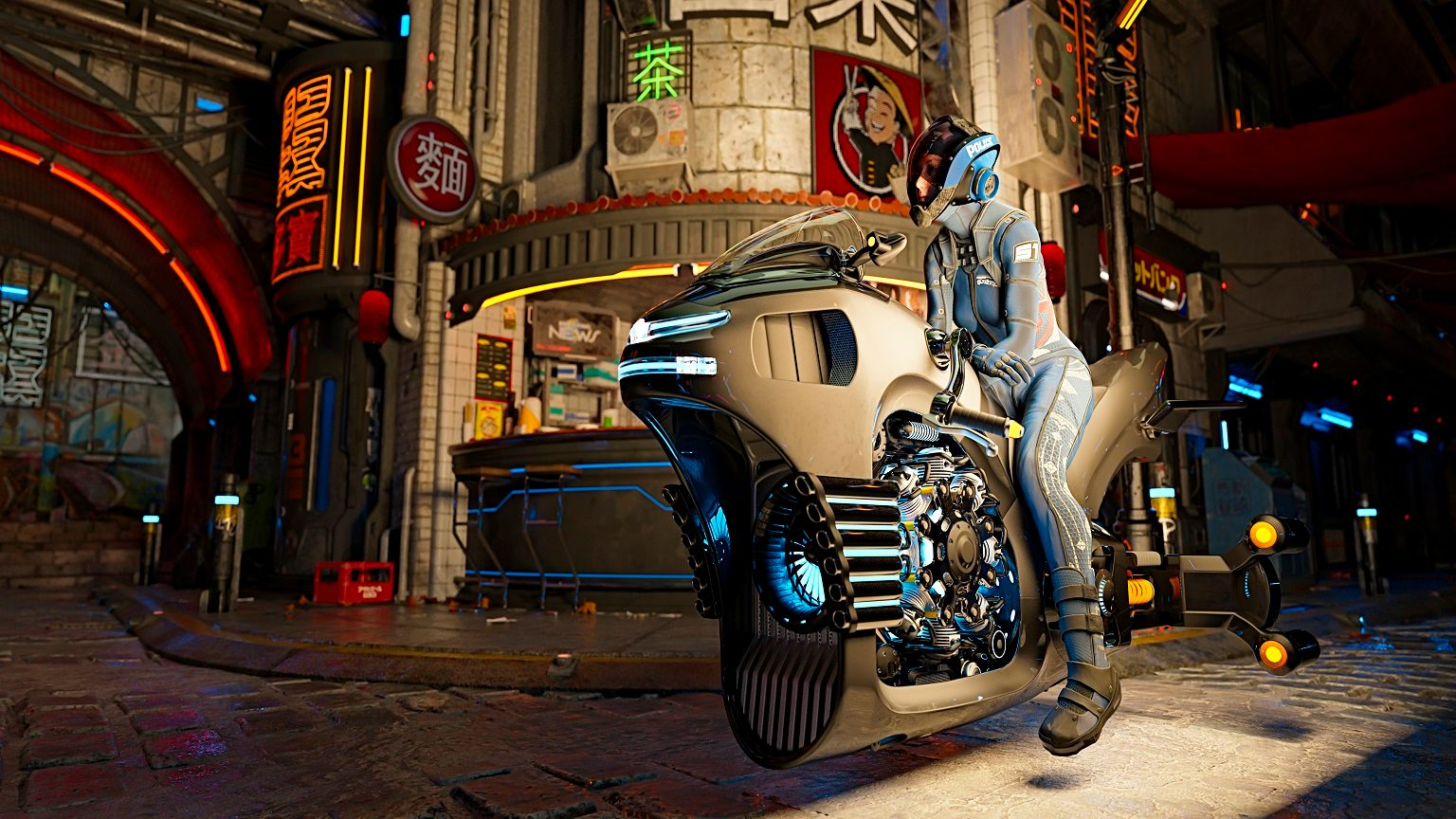Cyberpunk girl in helmet on a motorcycle in asian futuristic city