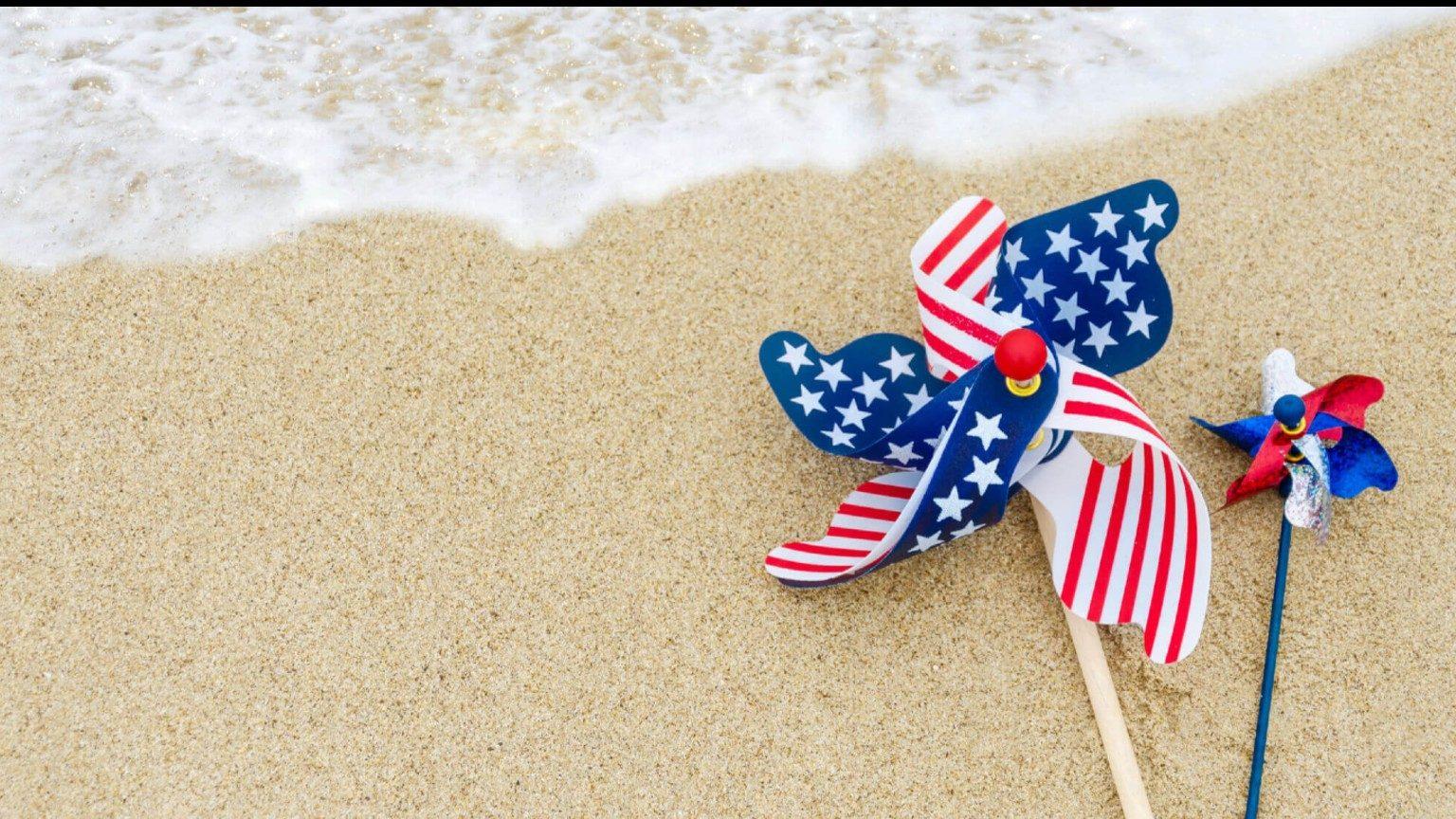 Flag on a sandy beach