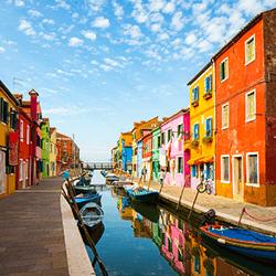 Venetian lagoon in Burano, Venice, Italy