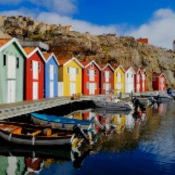 Colorful Fishing Huts Sweden