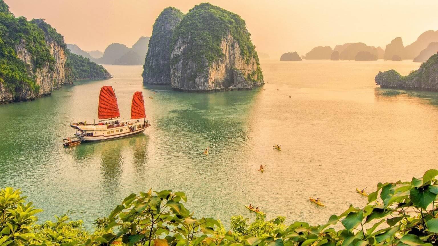 Sunset in Ha Long bay Vietnam