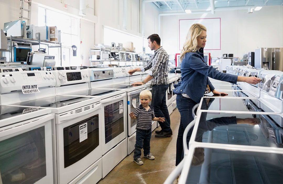 Family shopping for appliances