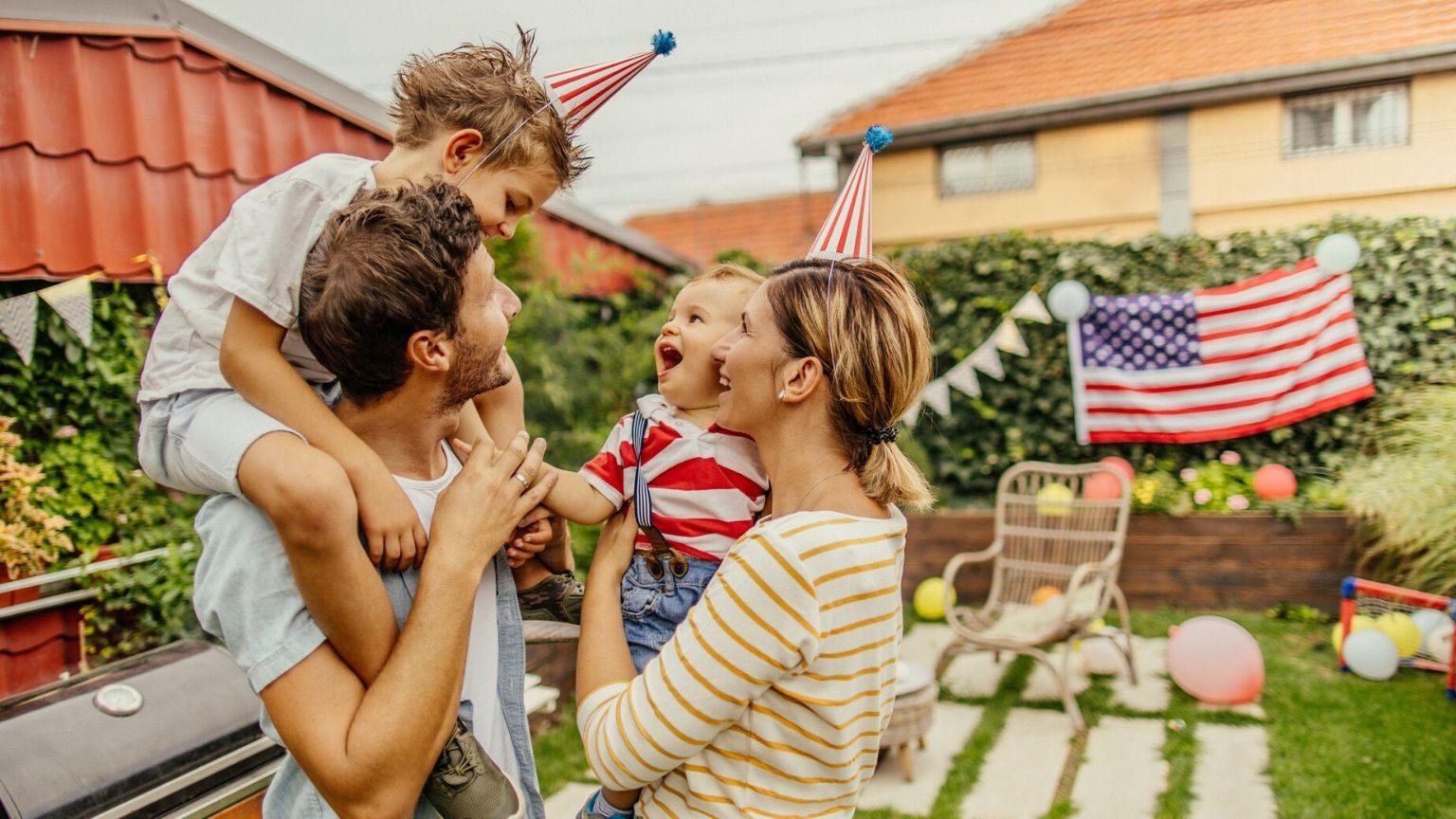 Family having Fourth of July picnic