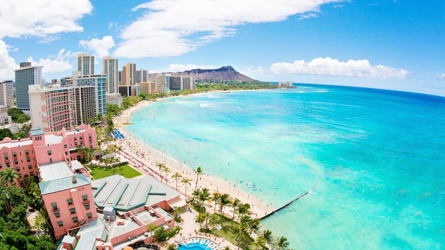 Waikiki beach resort in Honolulu, Oahu, Hawaii.