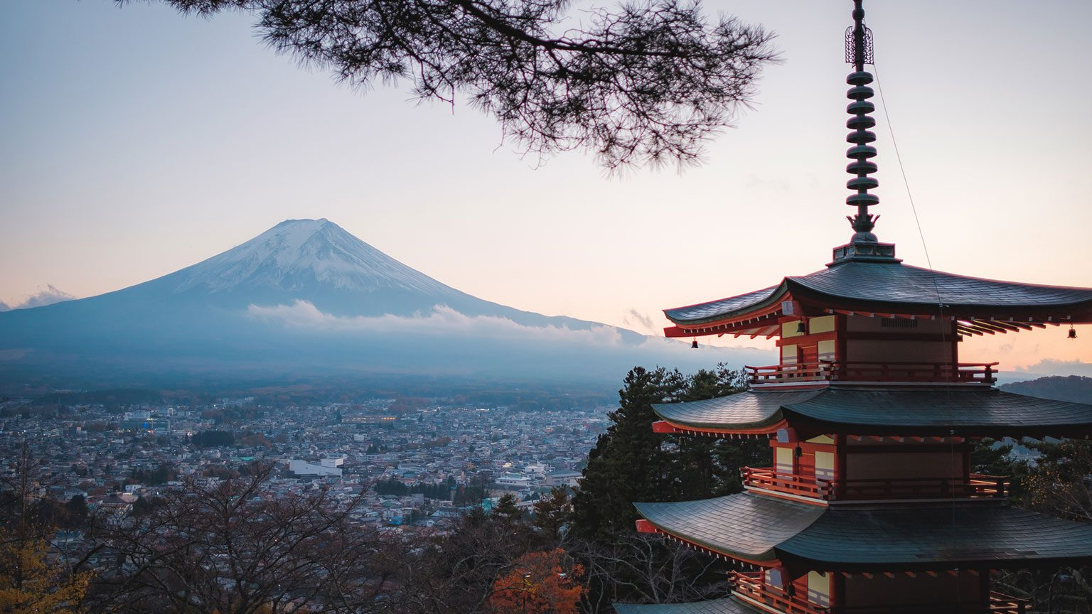 Temple with Mt. Fuji in background in Japan