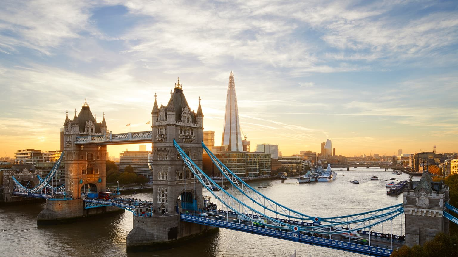Tower Bridge and The Shard at sunset, London, England