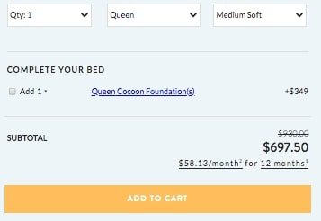 Cocoon by Sealy mattress add to cart button