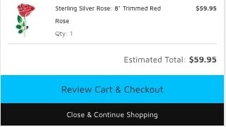 Love is a Rose checkout button
