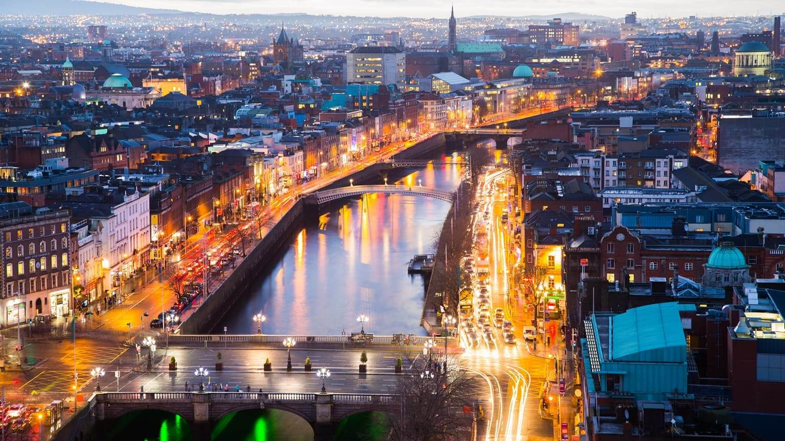 Viewpoint over O Connell Bridge and Dublin City