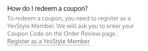 YesStyle redeem coupon instructions