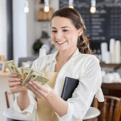 student paying bill