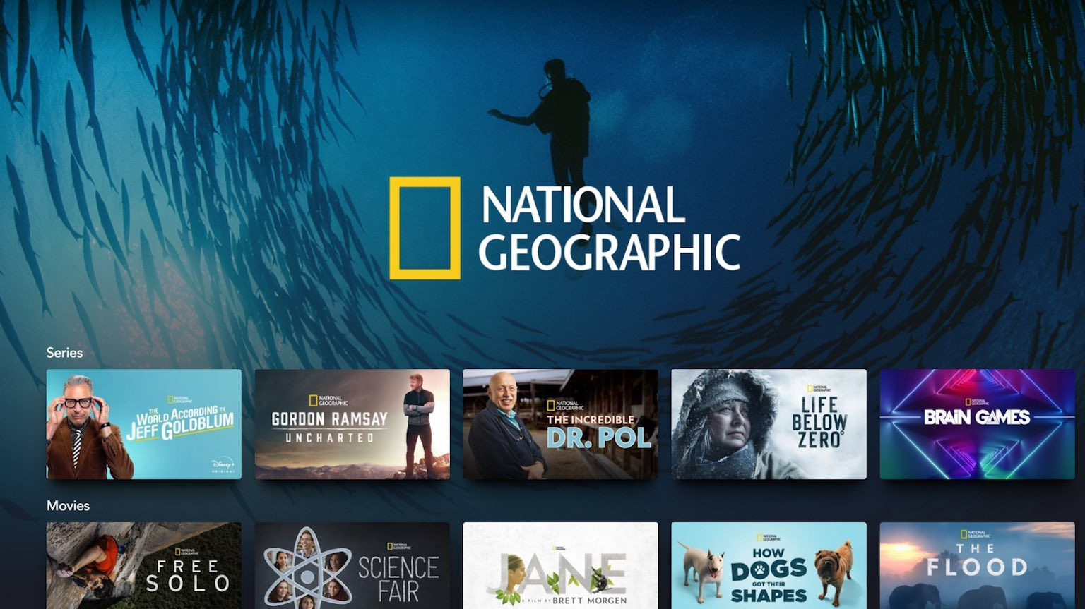 Selection of Disney+ National Geographic content