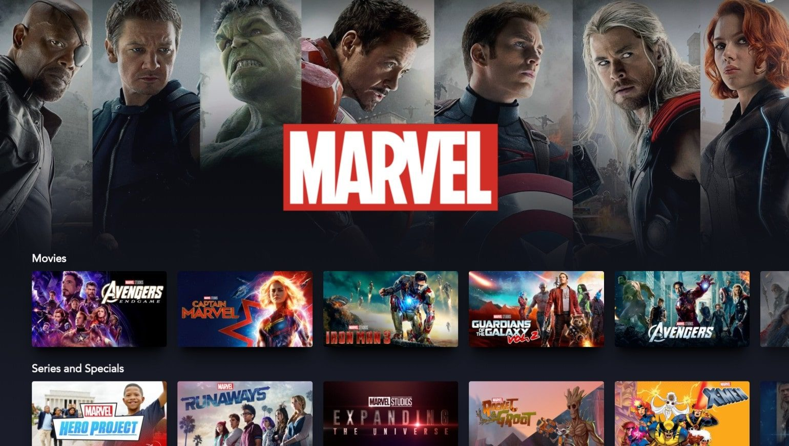 Selection of Marvel content on Disney+