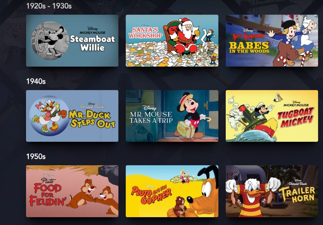 Selection of Disney shorts on Disney+