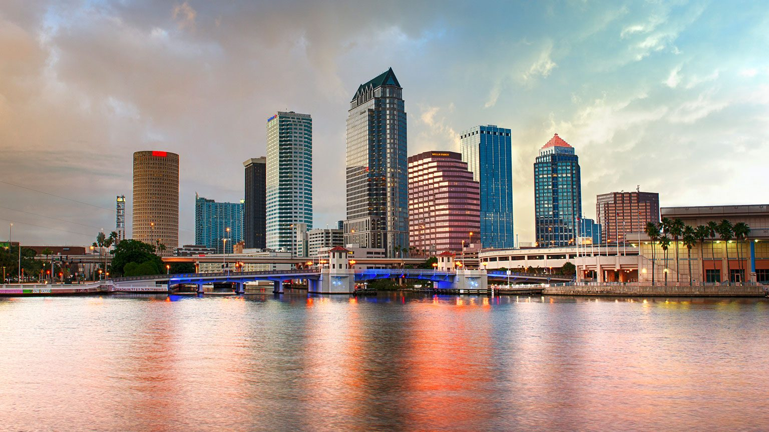 Downtown Tampa skyline view from the harbor at dusk