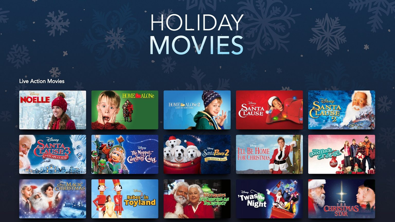 Disney+ Holiday movie selection
