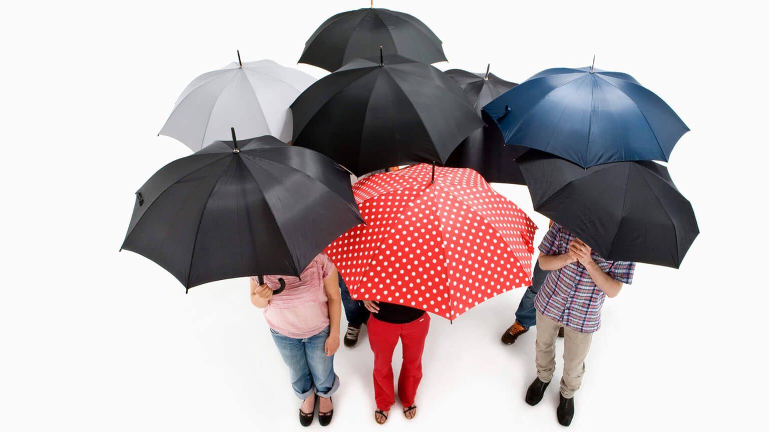 Group of men and women standing under umbrellas