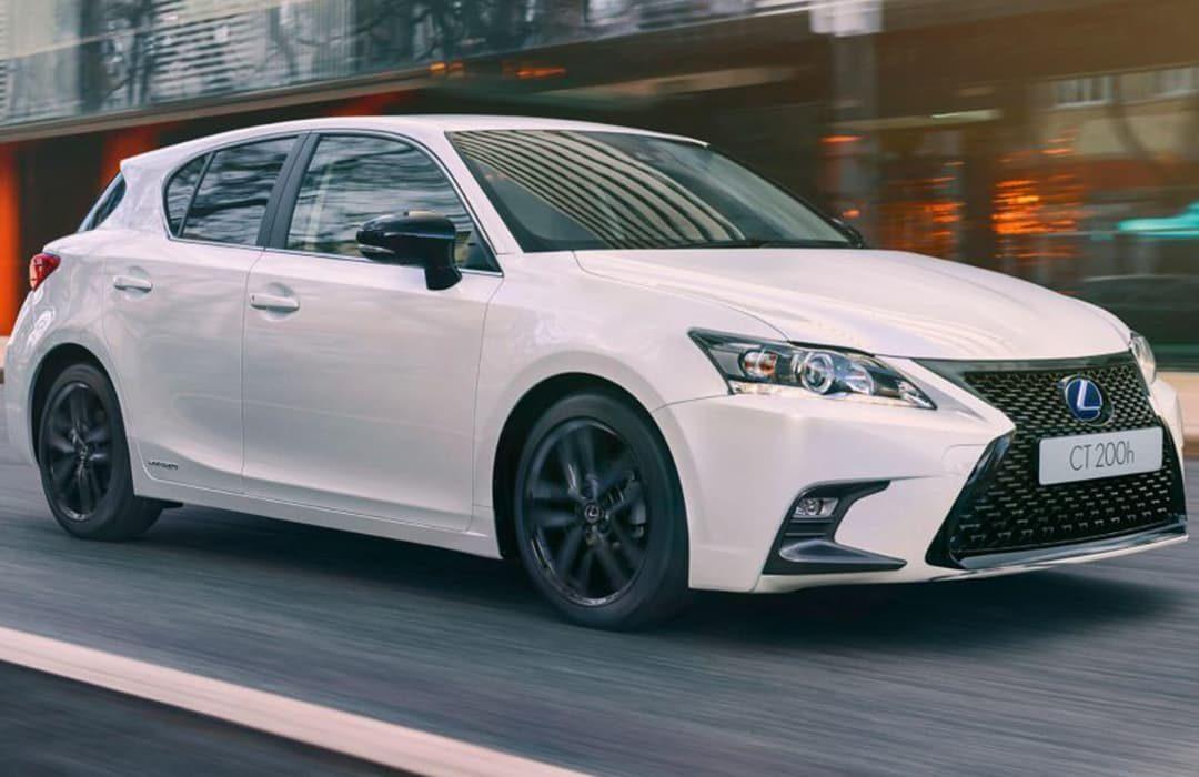 Lexus CT white car in motion