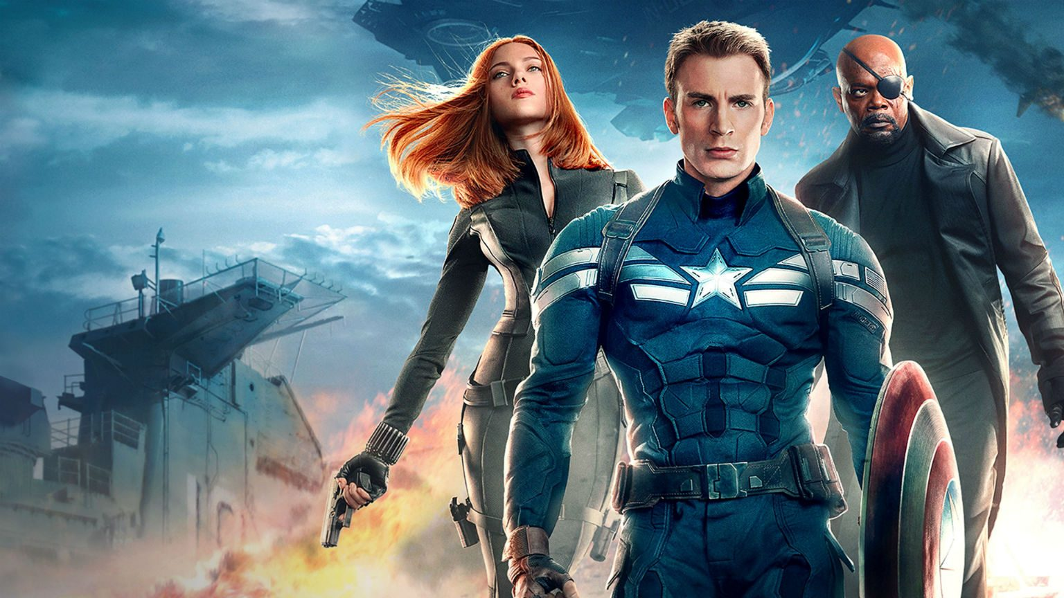 Captain America, Black Widow and Nick Fury Action pose