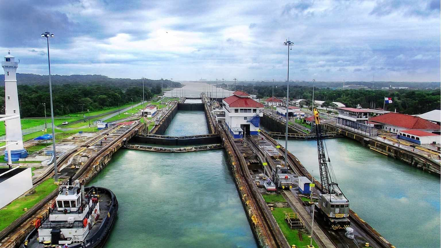 View from above of the panama canal