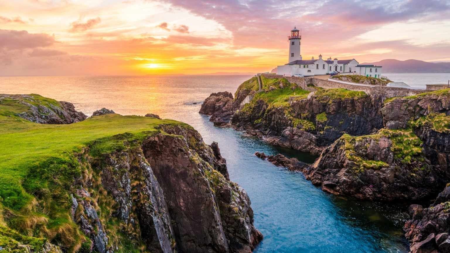 View of a lighthouse on the Ireland Coast at sunset