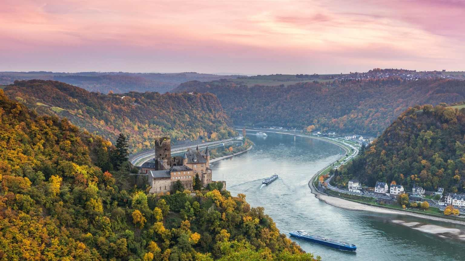View of the Rhine River in Autumn at Sunset