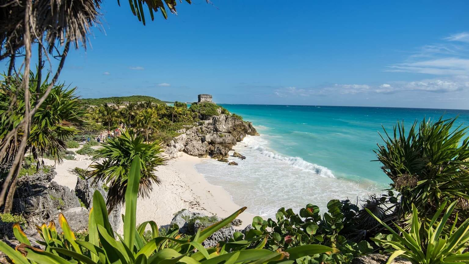 Ancient Ruins Of Tulum On Caribbean Sea In Mexico