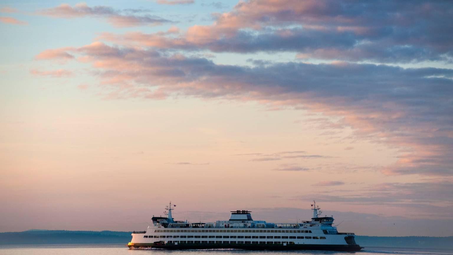 Ferry Boat Crossing Elliott Bay from Seattle to Bainbridge Island