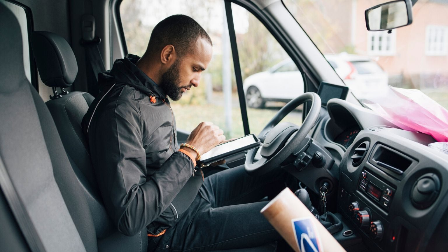 Man inside a commercial vehicle