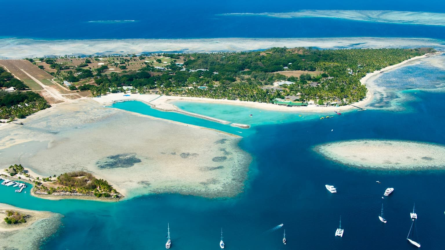Aerial view of remote tropical island in Fiji