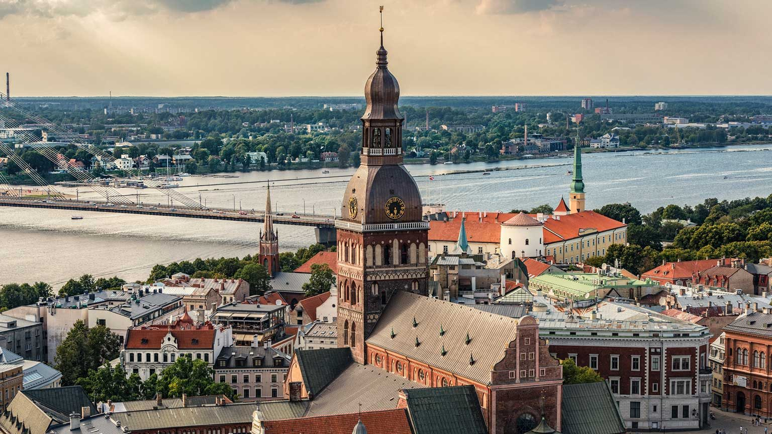 Aerial view of Riga, Latvia city and river