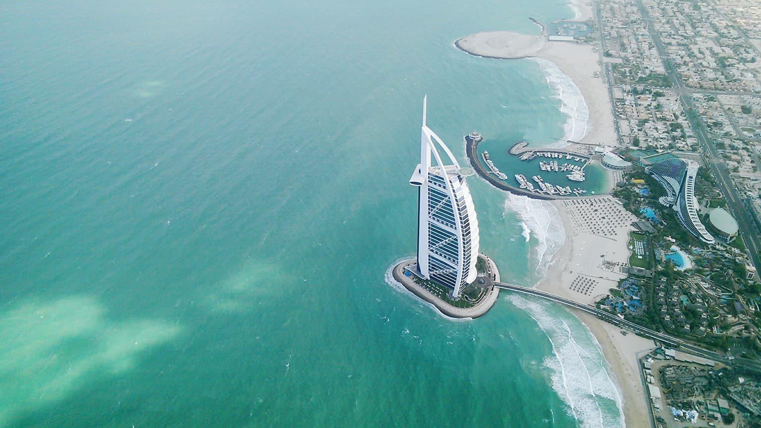 Aerial View Of Jumeirah Beach Hotel in Dubai, United Arab Emirates