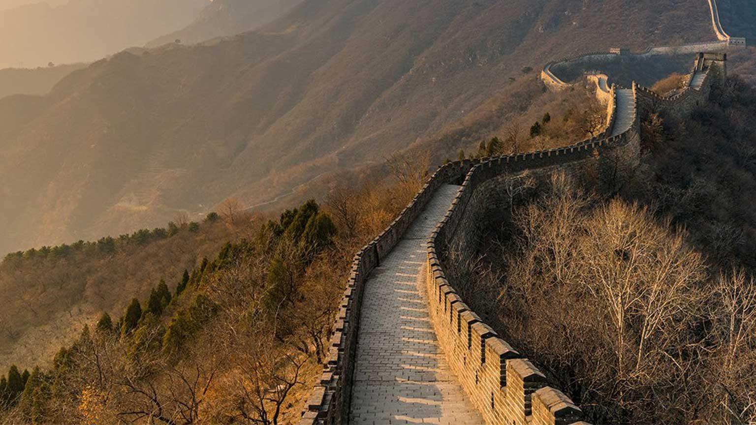 Great Wall of China at dusk