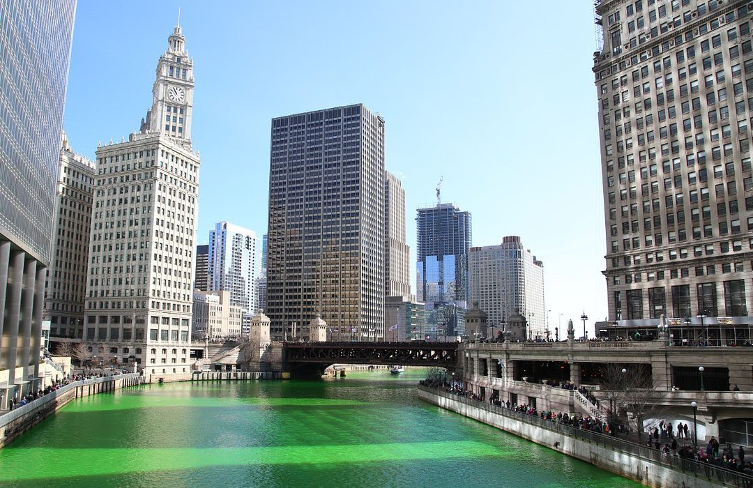 Chicago's river during Saint Patrick's Day