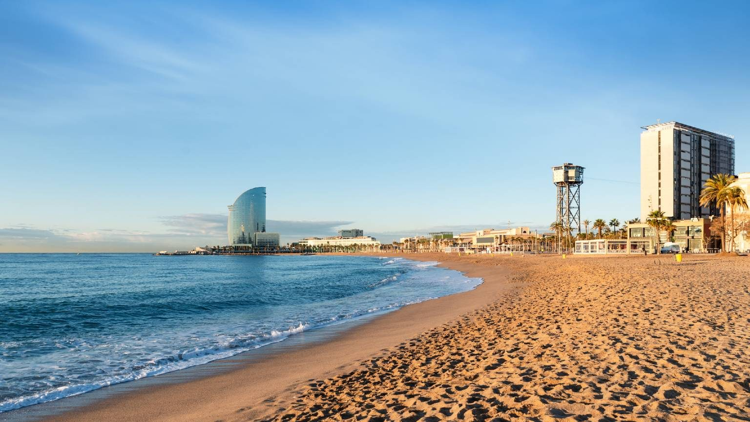 Barcelona with blue sky at sunrise