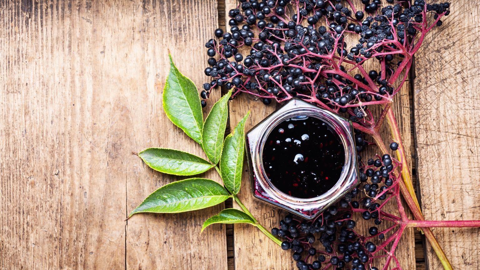 Elderberries in a jar