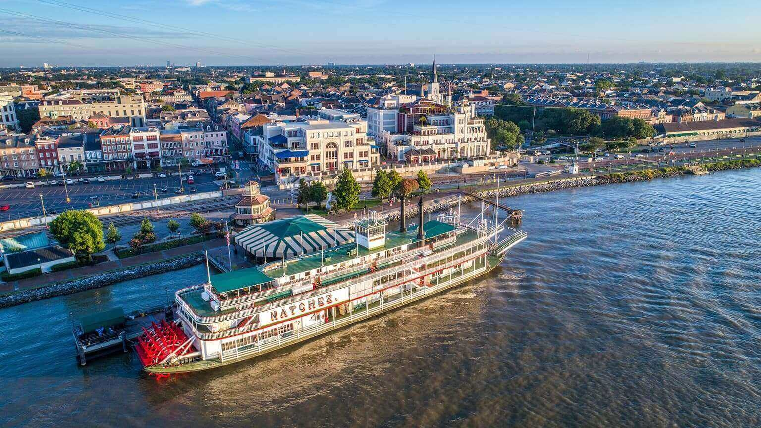 Steamboat River Boat Natchez docked on the Mississippi River