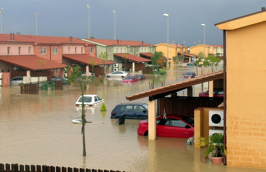 Houses flooding because bad weather