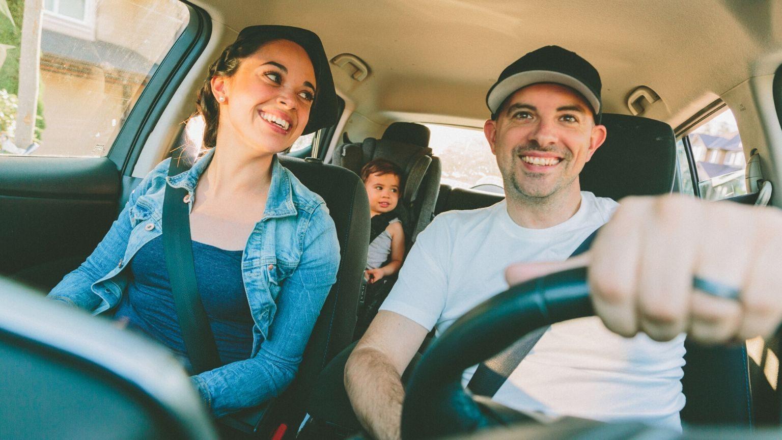 Family inside a car