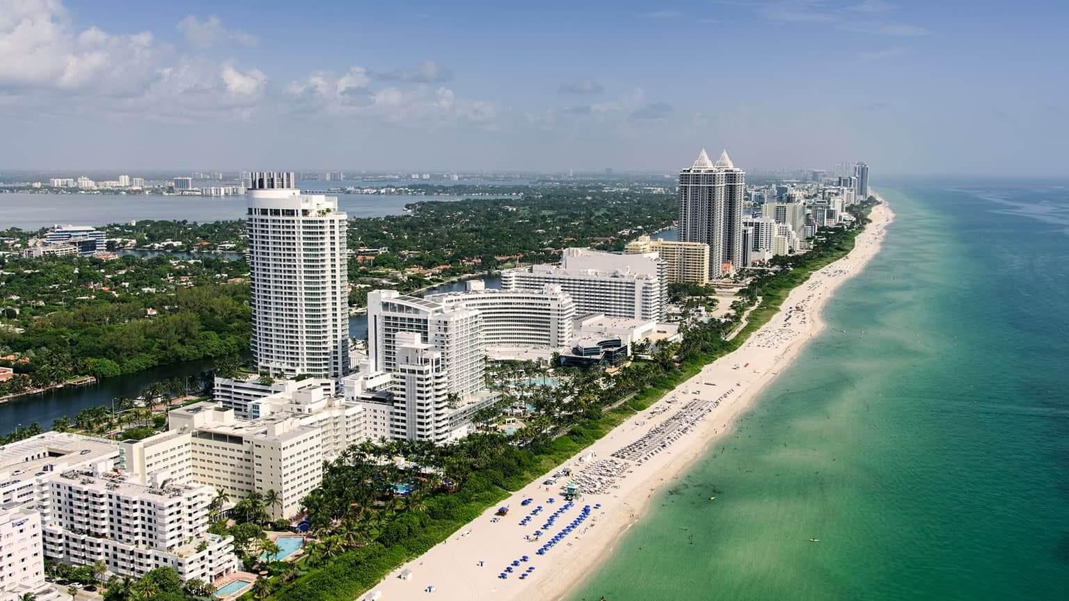 Florida, Miami, Aerial view of coastal city