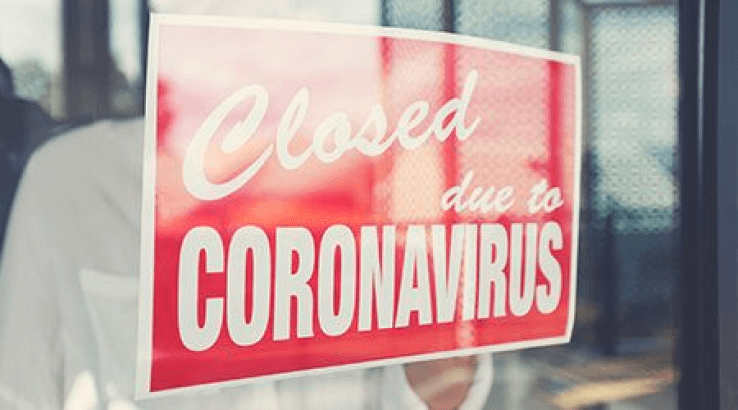 Closed due to coronavirus sign