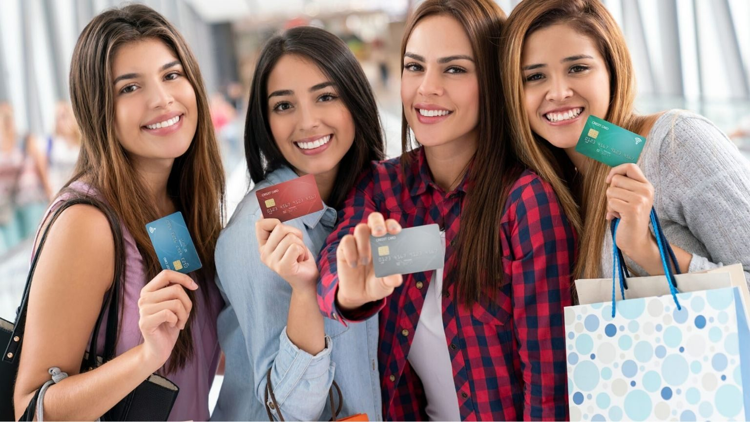 students showing credit cards