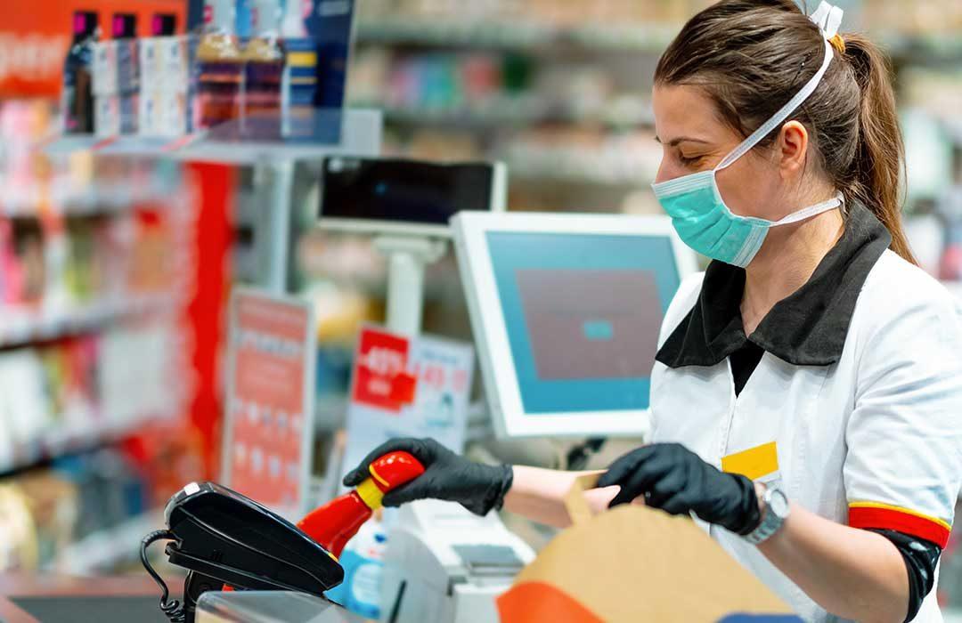 Supermarket Worker wearing mask