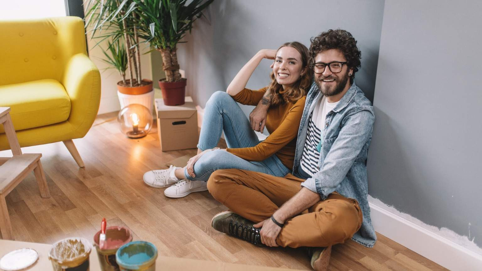 Couple hanging around after making improvements in the house