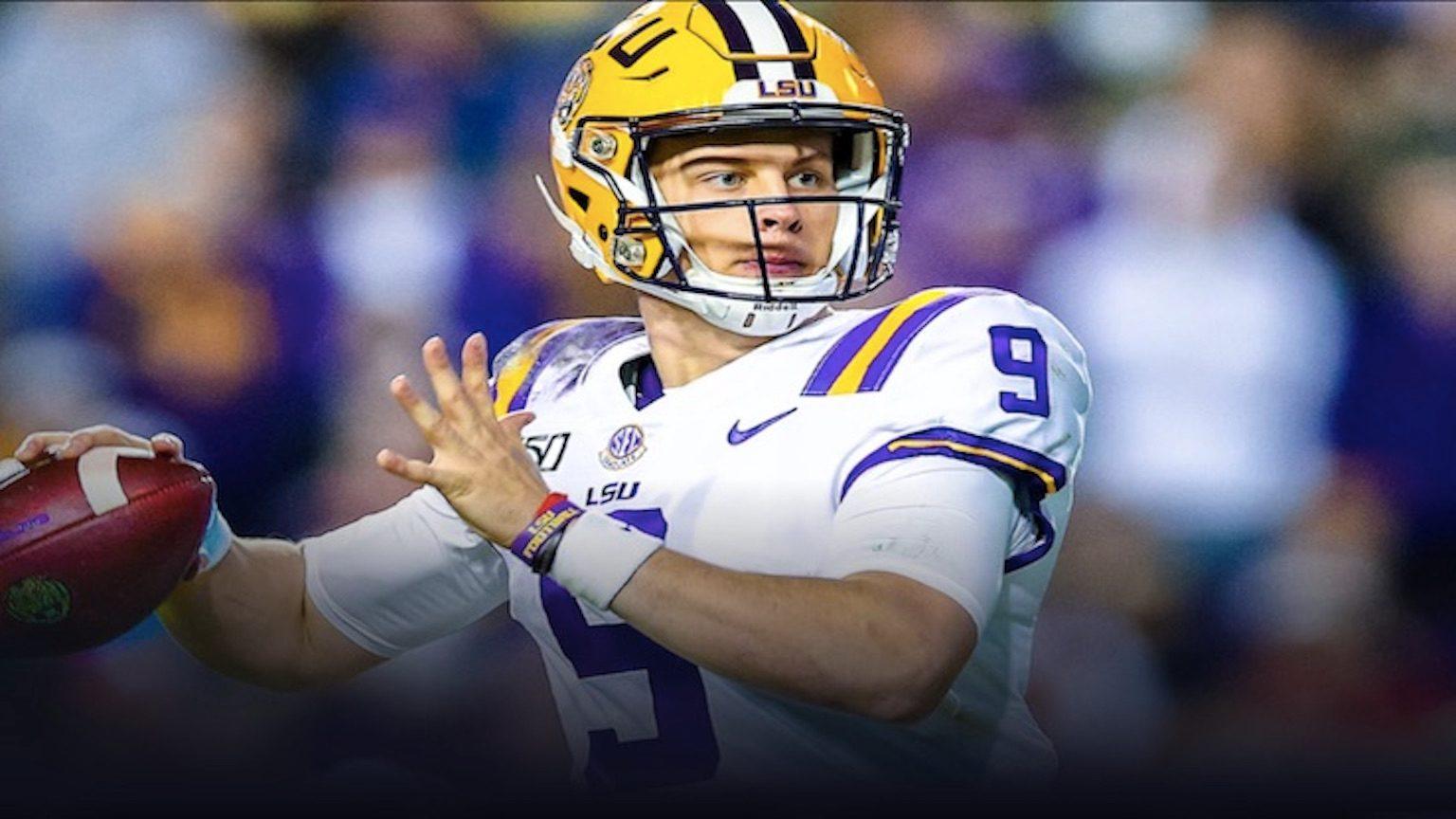 Joe Burrow, quarterback of LSU, throwing a football.