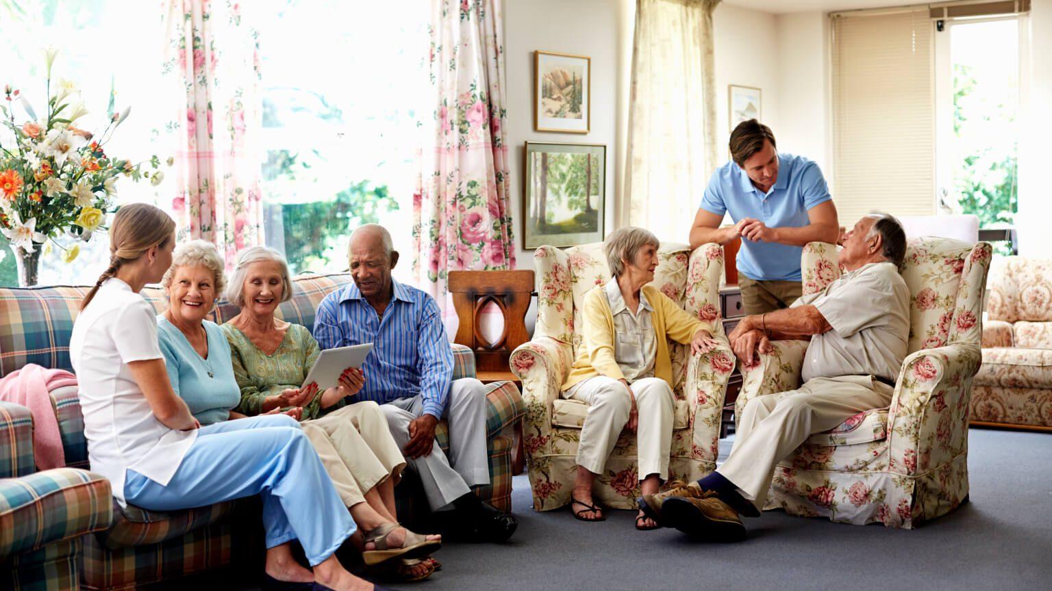 Seniors having fun in a senior aged home
