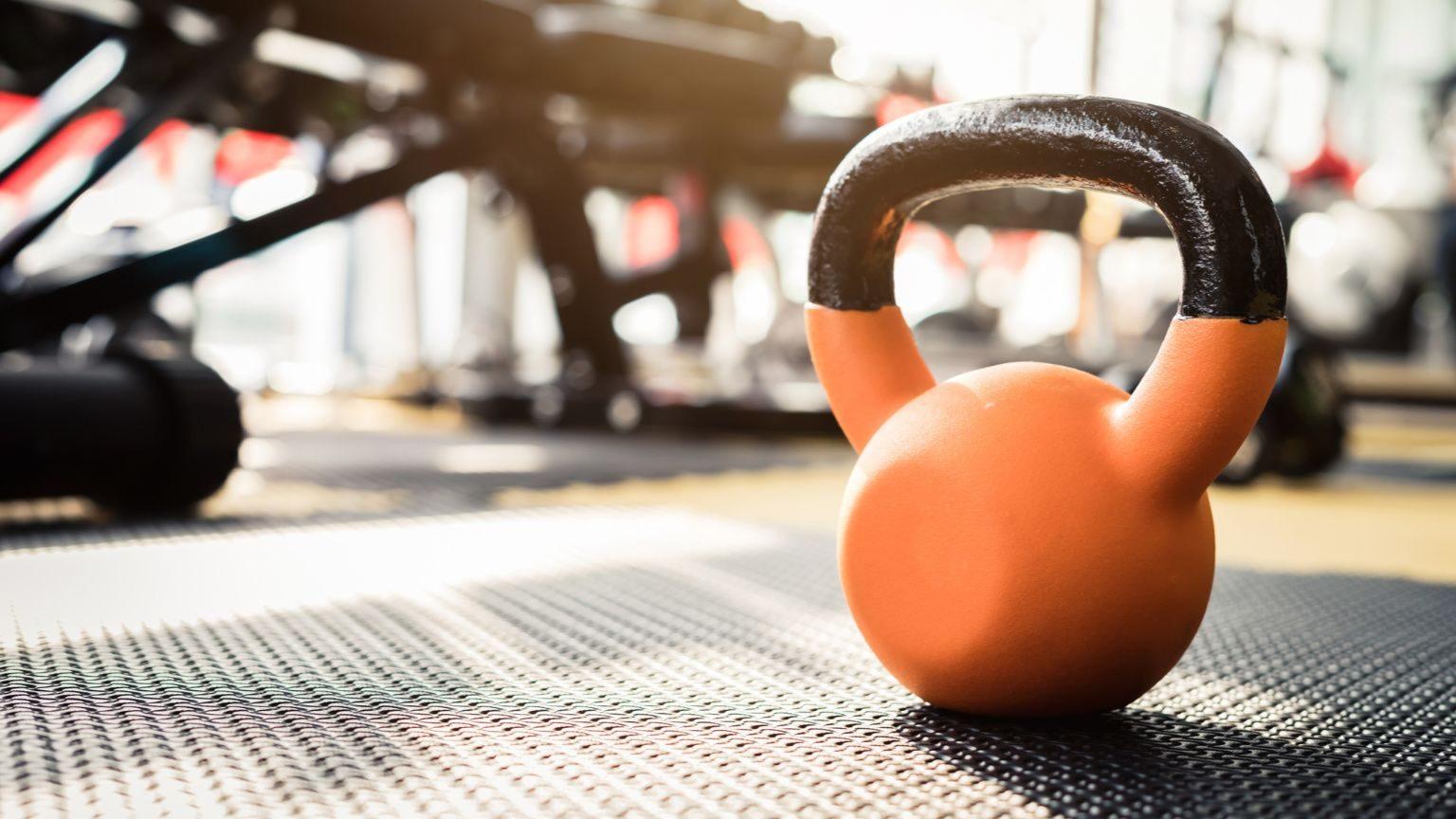 a kettlebell on the floor of a gym